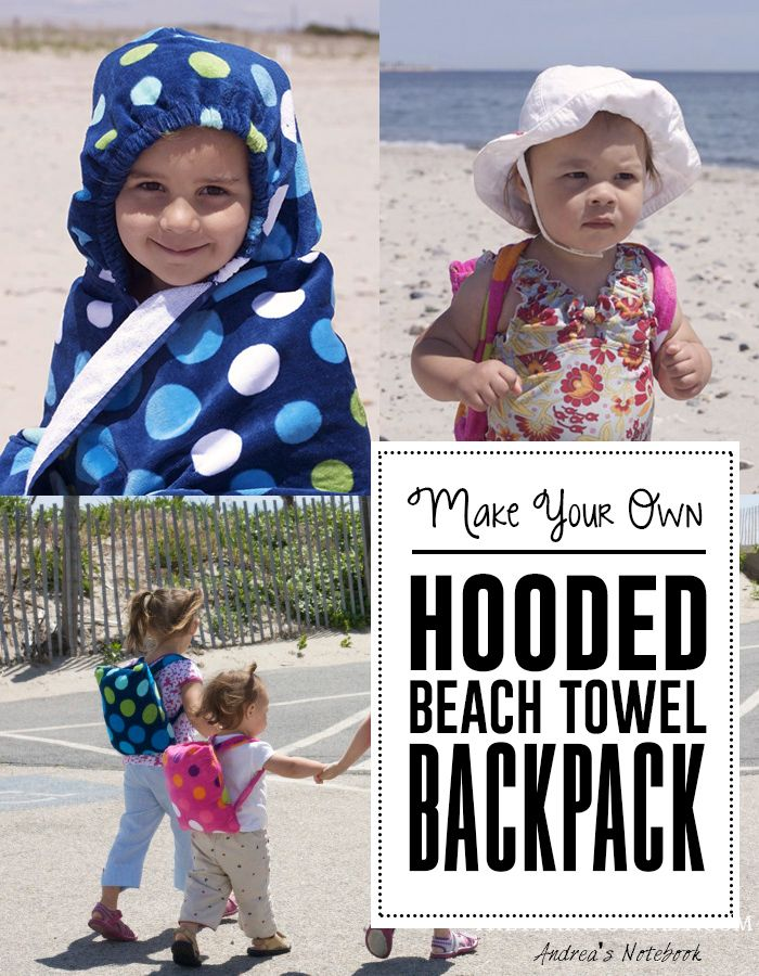 Make your own hooded beach towel backpack!: Beaches Backpacks, Towels Backpacks, Kids Beach, Backpacks Tutorials, Hoods Towels, Diy Hoods, Hooded Towels, Hoods Beaches, Beaches Towels