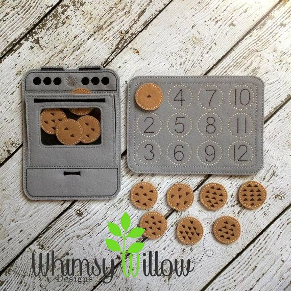 Oven Cookie Number Match Felt Board ITH by WhimsyWillowEmb on Etsy