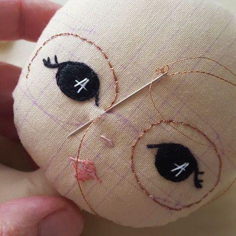 WIP Sparkly specs! #gingermelon #dollmakers #clothdoll #handembroidery #doll #handmadedolls #dollmakers #fairfieldworld