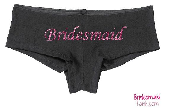 Black BRIDESMAID Boyshorts Black BLING by BridesmaidTank on Etsy