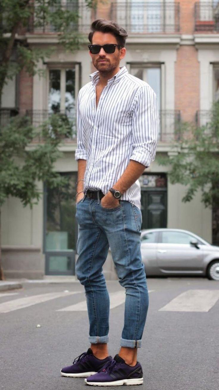 Resultado de imagen para look camisa blanca rayas celeste hombre