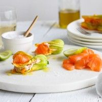 Stuffed Courgette Flowers with Regal King Salmon #entertaining #recipes #smokedsalmon