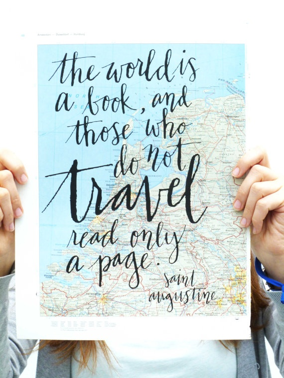 Travel Quote Screen Print on Vintage Atlas Page by MintAfternoon