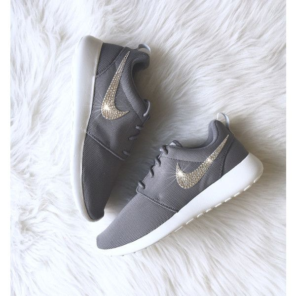Nike Roshe One With Swarovski Crystals Cool grey/summit white/pure... ($145) ❤ liked on Polyvore featuring shoes, sneakers, grey, sneakers & athletic shoes, women's shoes, polish shoes, grey shoes, shiny shoes, white trainers and grey trainers