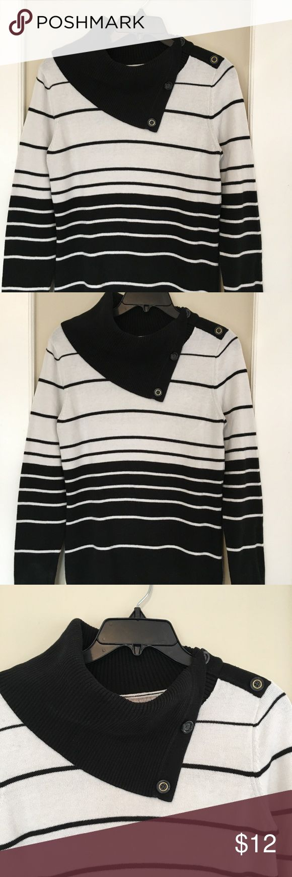 Banana Republic sweater Cowl neck sweater with black and white stripes. Has buttons down one shoulder. Dry cleaned, but there are two small spots on the back as pictured. Might be a color transfer from dry cleaning but I'm not sure. Price reflects. Banana Republic Sweaters Cowl & Turtlenecks