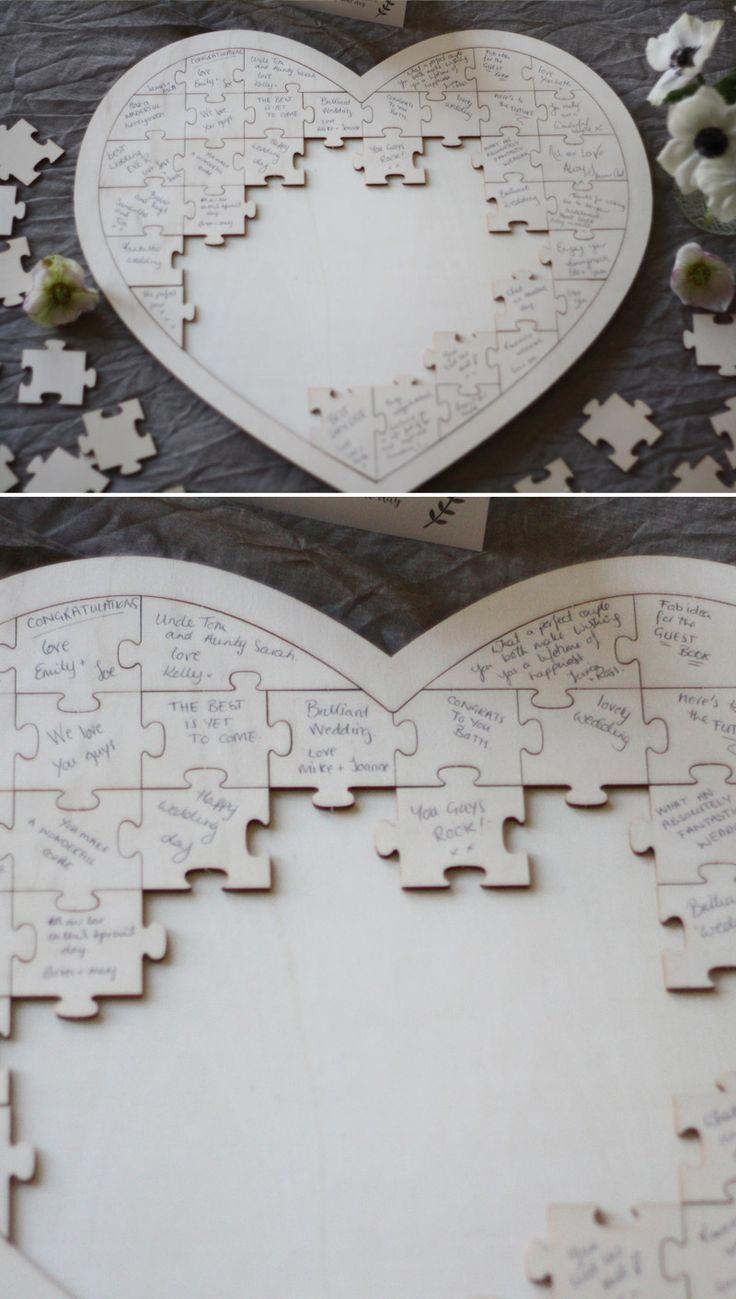 Jigsaw puzzle as an alternative wedding guest book #weddingguestbookideas #weddingideas #weddingdecor #weddingdecorations