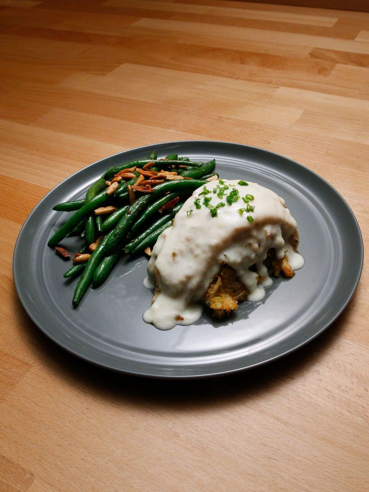 Crab-Stuffed Flounder with Mornay Sauce and Green Beans Almondine recipe from Rachael Ray via Food Network