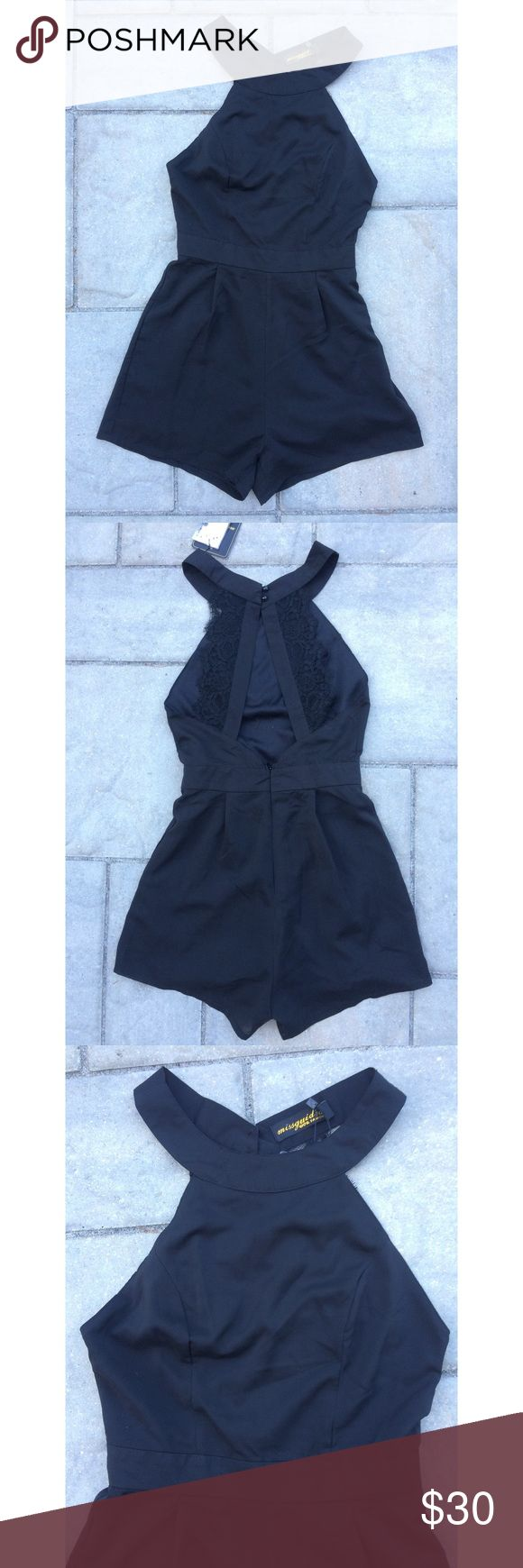 NWT Missguided Black Cutout Lace Back Romper New with tags! Black romper with a high neckline and a cutout back that has a lace trim.  Please comment with any questions or requests for measurements :) Missguided Dresses