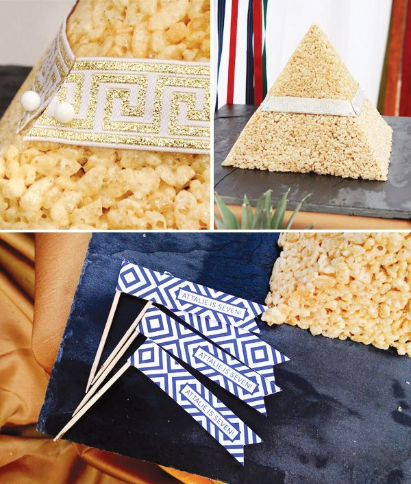 Pyramid shaped Rice Krispies treat for Egyptian theme birthday party