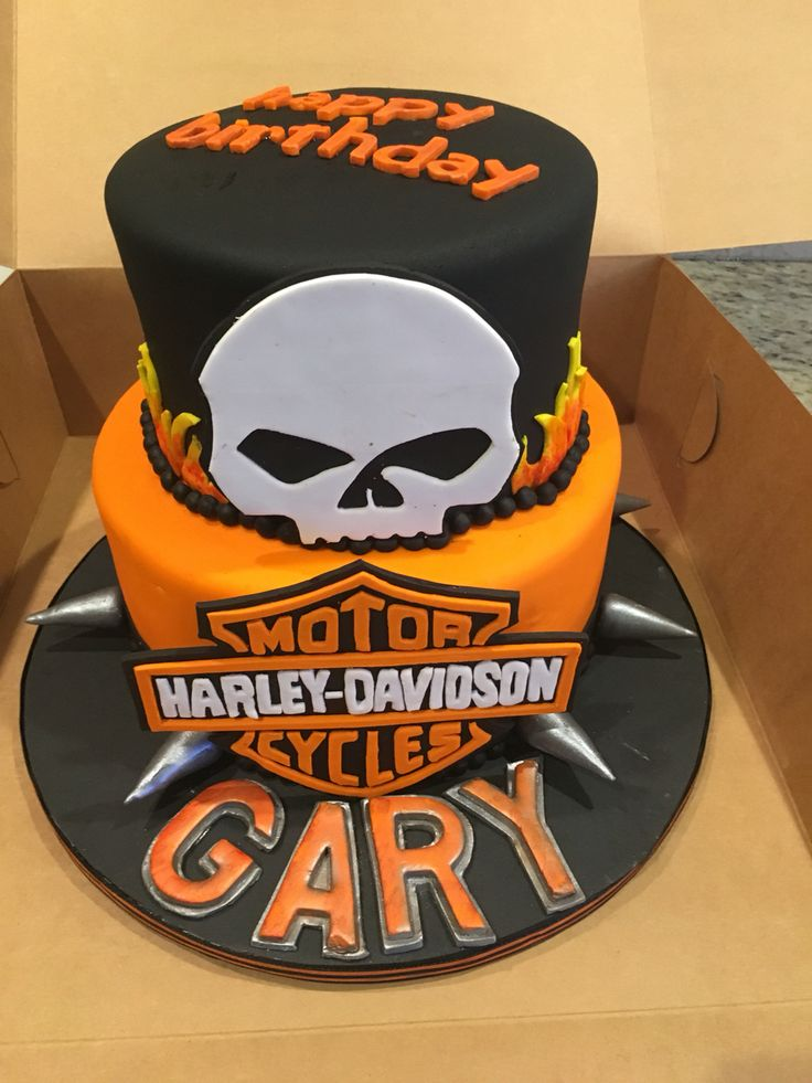 Harley Davidson cake with hand cut fondant decorations