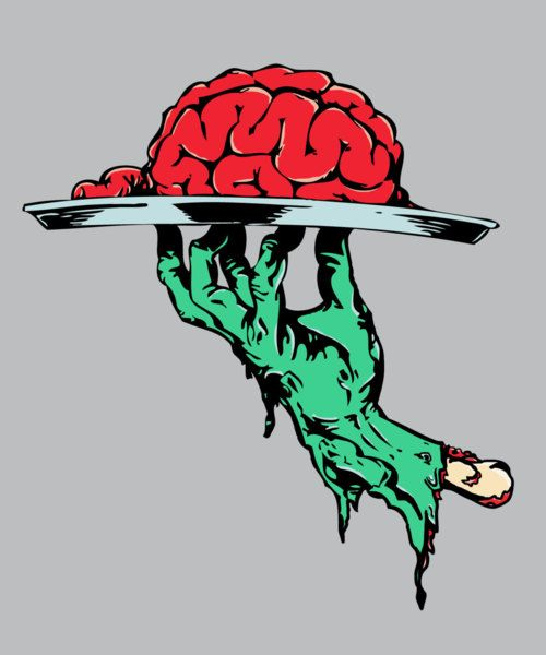 Zombie Brains on a Serving Platter illustration art