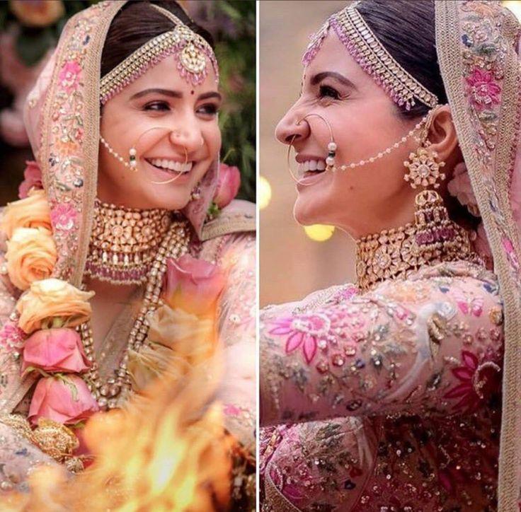 Anushka Sharma on her wedding day #sabyasachi #virushka #wedding #bridalmakeup #bridaljewellery