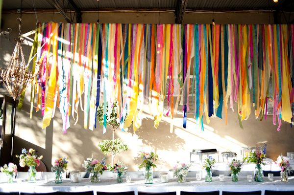 Draped ribbons.: Birthday Parties, Wedding, Ribbons, Colors, Paper Streamers, Garlands, Parties Ideas, Tables Decor, Parties Decor