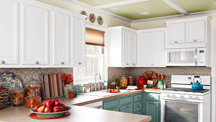 Crown molding in kitchen do it yourself pinterest for White kitchen cabinets with crown molding