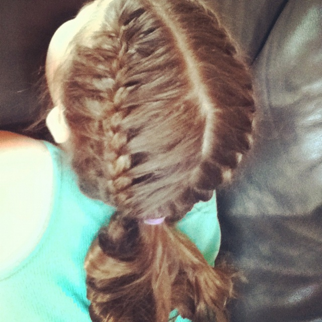 Hair I did to my sister for her softball game...great for sporting events!!!!