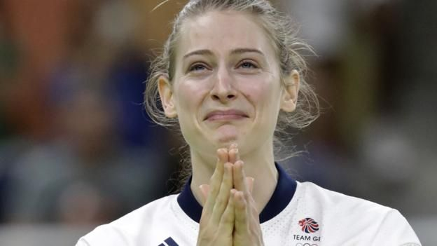 Bryony Page wins silver as the first British woman to get a medal in Olympic trampoline. 12th August 2016