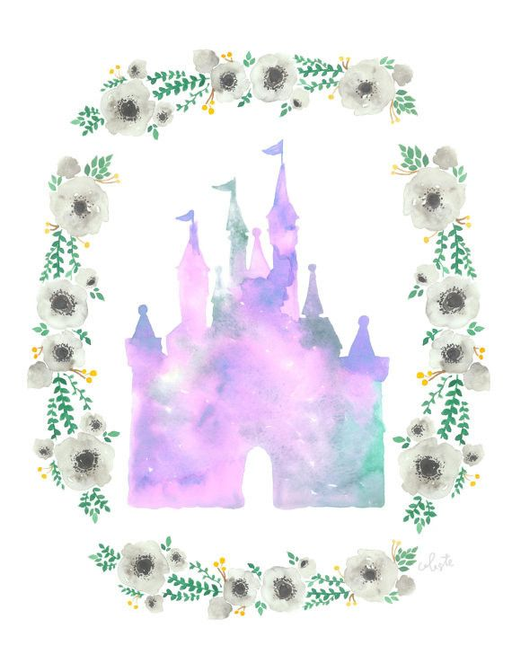 Disneyland Castle watercolor poster print, Cinderella castle, Walt Disney