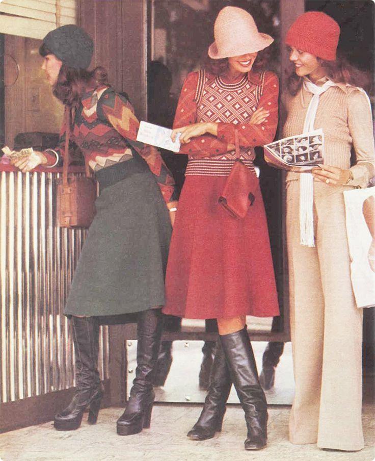 Australian 1970s autumn fashion: Printed knits, midi skirts and boots