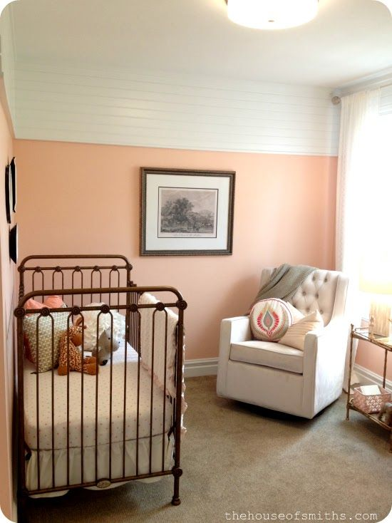 Vintage Baby Nursery Peach Gold And White
