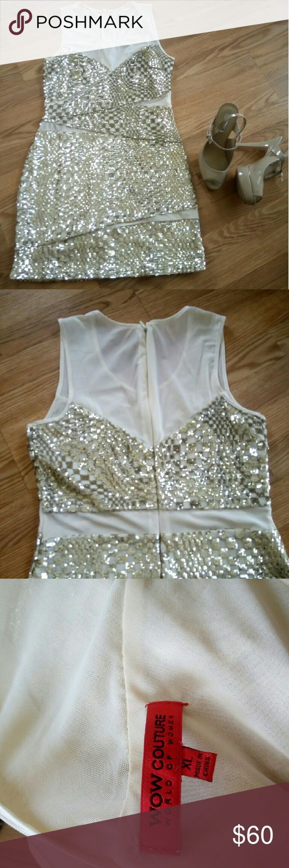 Wow couture gold and cream sequins dress Worn only once, great condition, all the sequins are in tact. Size XL WOW couture Dresses Mini