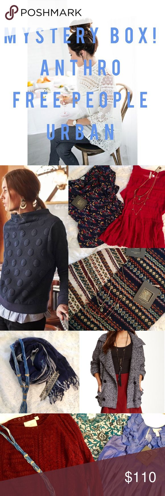 🎁Mystery Box: Anthro, Free People, Urban! Mystery box of NWOT (never worn!)/NWT items from Anthro, Free People and Urban! 🎀 Each box comes w/ 4 items which could include: Blouses/Sweaters - Cardigans/Ponchos - Jackets/Coats - Dresses - Skirts - Jewelry/Scarves. Pics shown are some of the items! Don't love the box? Posh doesn't support returns, but each item can easily be resold since they are new 🎀 List your size for: 1. General S-L, 2. Dress/skirt 0-10, 3. Bust/waist measurements. 🎀…