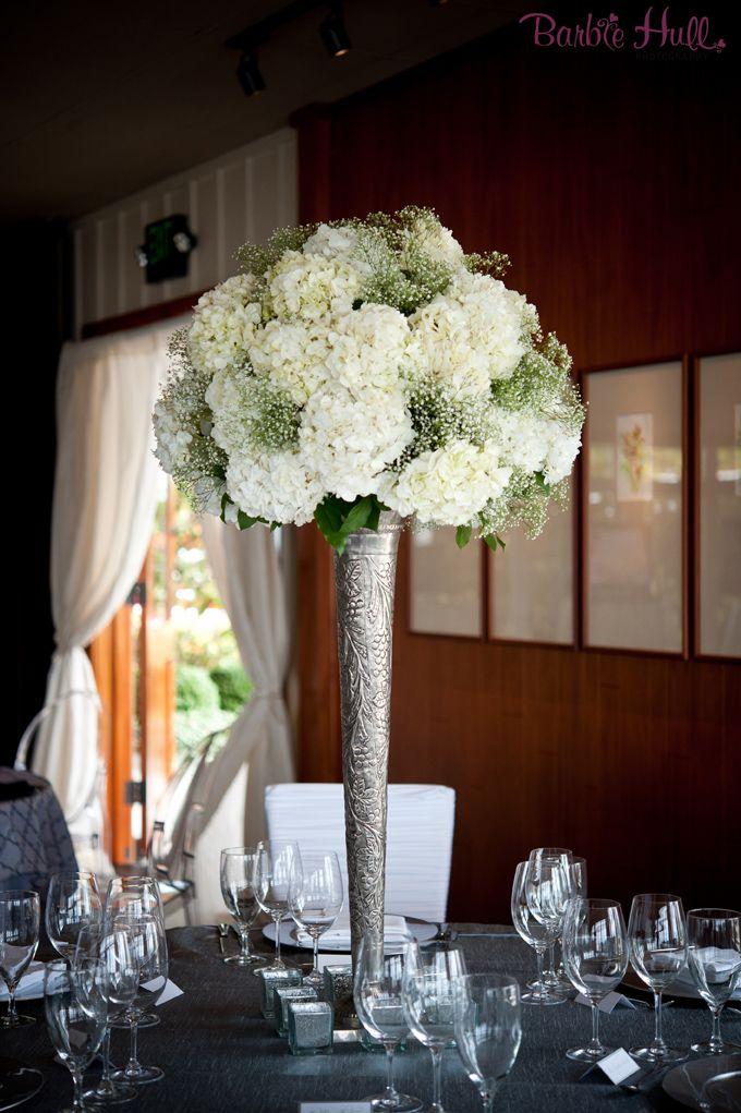 Tall white hydrangea centerpiece wedding decoration
