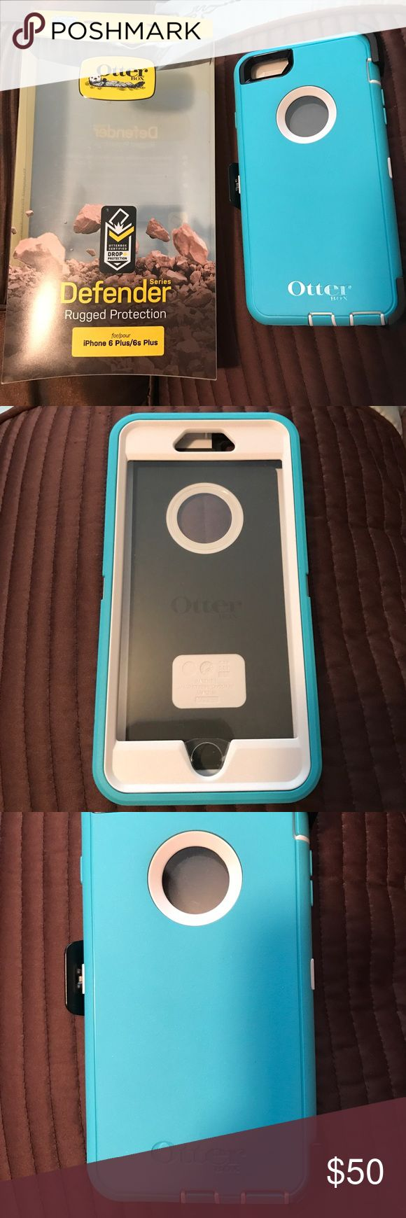 iPhone 6 Plus 6S Plus Defender Otter Box New! Brand new still in package! iPhone 6 Plus/6S Plus Defender Otter box phone case. Never used and brand new! Colors are: white case with teal outer cover. Includes belt clip. OtterBox Accessories Phone Cases