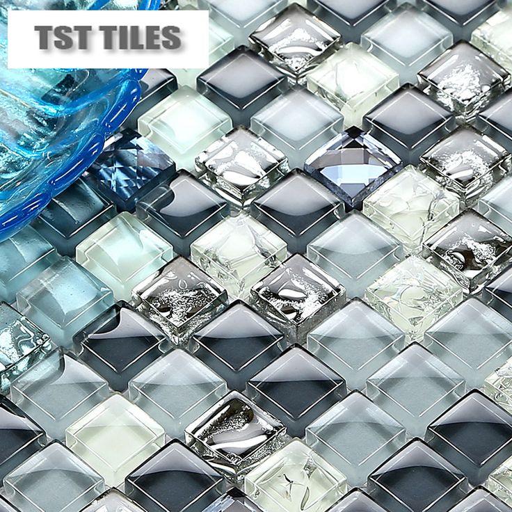 silver glass mosaics ink blue tile kitchen backsplash bathroom wall shower tub wall decor