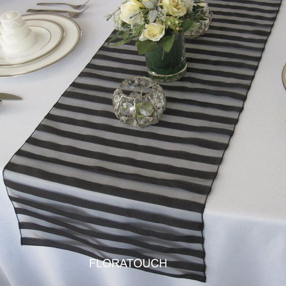 Tuxedo organza wedding table runner  Black by floratouch on Etsy, $8.00