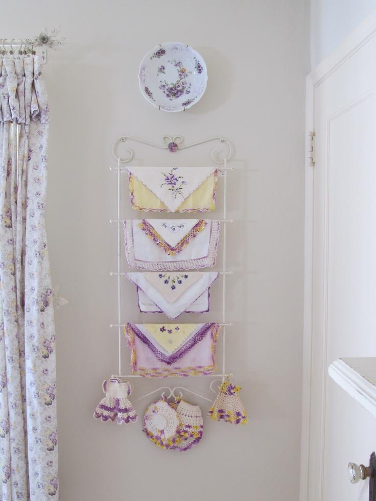 Vintage lavender and lemon hankies. Cindy Brown Design