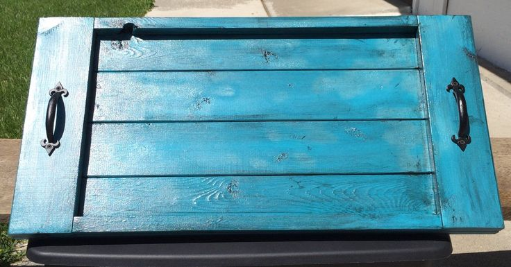 Ottoman tray, antiqued turquoise wood serving tray, rustic serving tray with handles, laptop wooden tray, oversized serving tray by LodgeDecorNMore on Etsy https://www.etsy.com/listing/234268111/ottoman-tray-antiqued-turquoise-wood
