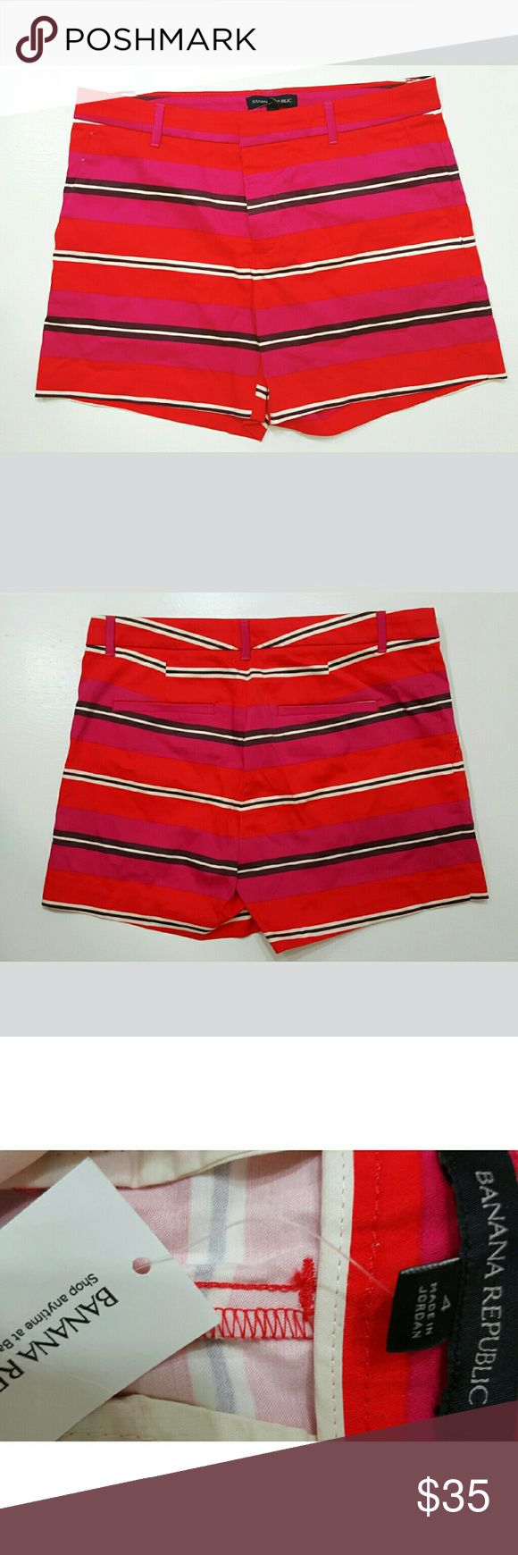 Banana Republic Striped Shorts  NWT Size 4 Red, pink, black and white striped shorts with hidden button and front zip closure.   New with tags! Banana Republic Shorts