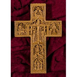 Wall Cross Crucifix Hand-carved Aromatic Greek Russian Christian Orthodox Plaque Made with Pure Beeswax, Mastic and Incense From Mount Athos