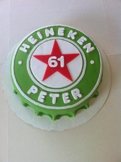 Heineken Beer Cap cake By Taaartjes on CakeCentral.com for your HUSBAND