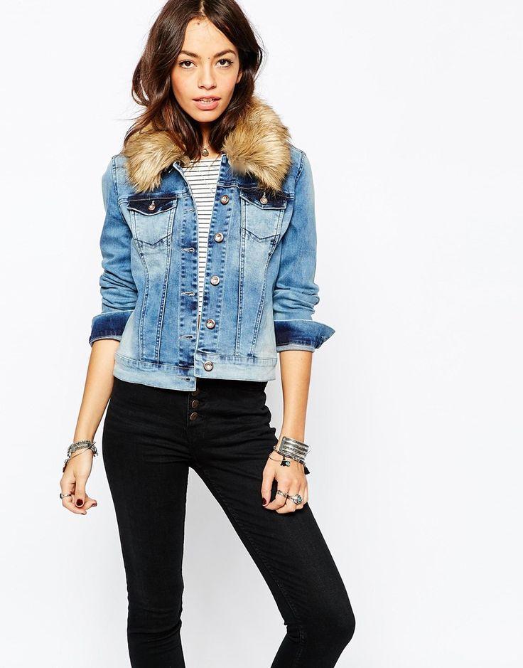 Only Denim Jacket with Fur Lepel