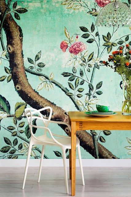 Pretty set up: botanical wallpaper, white chair and the crystal chandelier.                                                                                                                                                      More