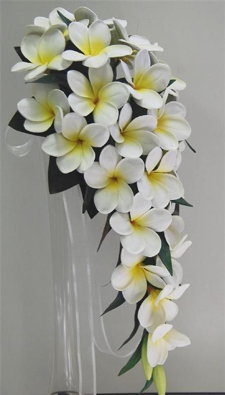 Latex real touch white yellow frangipani teardrop wedding bouquets fake flower
