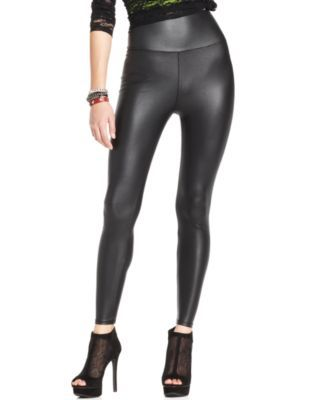 Material Girl High Waisted Pleather Legging $14.99 Shake up your look with a bit of edge in Material Girl's high-waist faux-leather leggings!