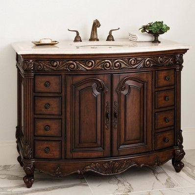 Ambella Home Antique Provincial Medium 48 Single Sink Chest Dark 06227 110 226