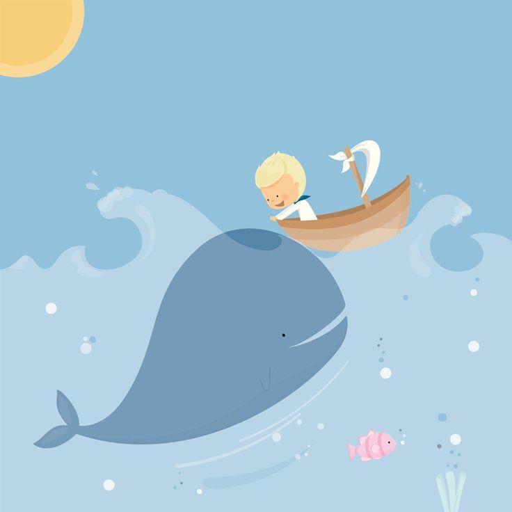 Avondster: illustratie jongen met walvis duwt bootje - Avondster: illustration…