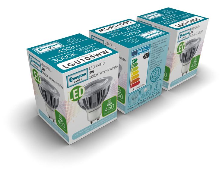 Crompton Lamps new proposed packaging for 5W LED GU10 COB