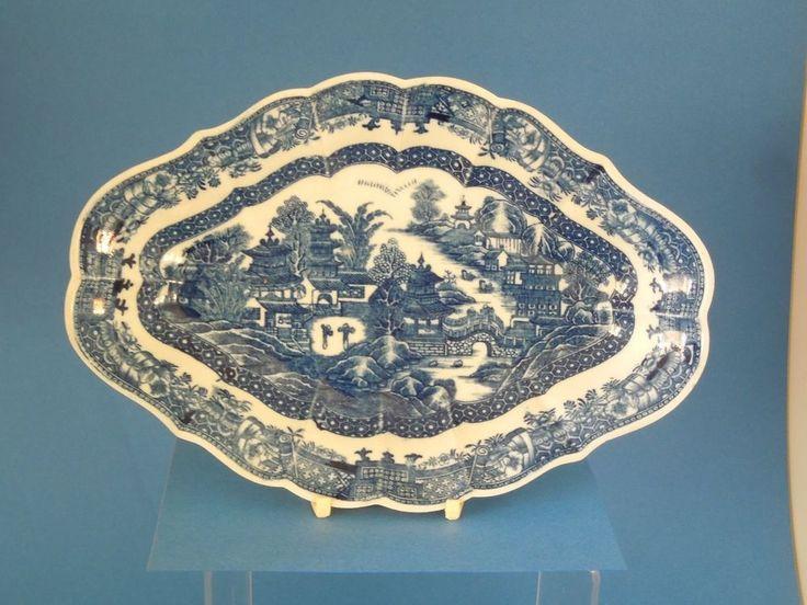 CAUGHLEY porcelain blue & white DESSERT DISH - Full Nanking Pattern C1780 #Octagonalservicedish