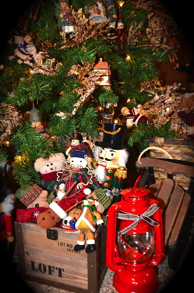 Old toys under christmas tree