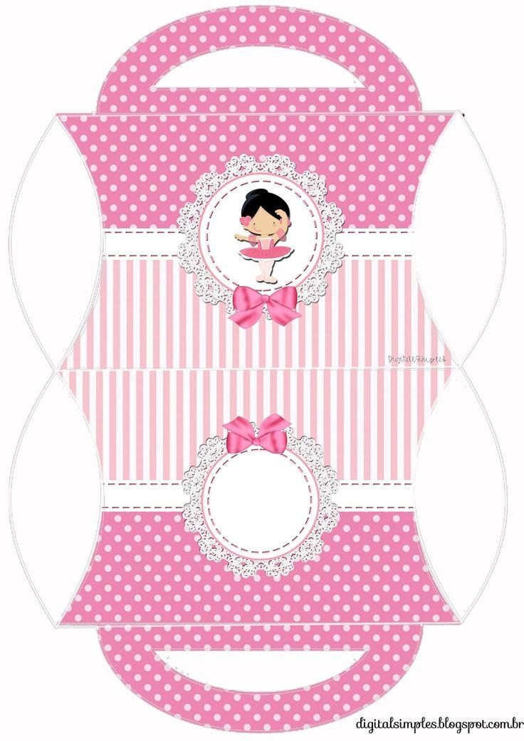 """bolcinha guloseimas Kit de Personalizados Tema """"Bailarina Rosa"""" para Imprimir - Convites Digitais Simples"""