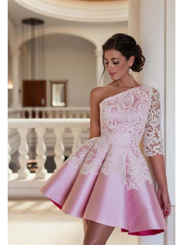 Pink One Shoulder Long Sleeve Short Homecoming Dress | Homecoming dresses, Dresses, Elegant cocktail dress