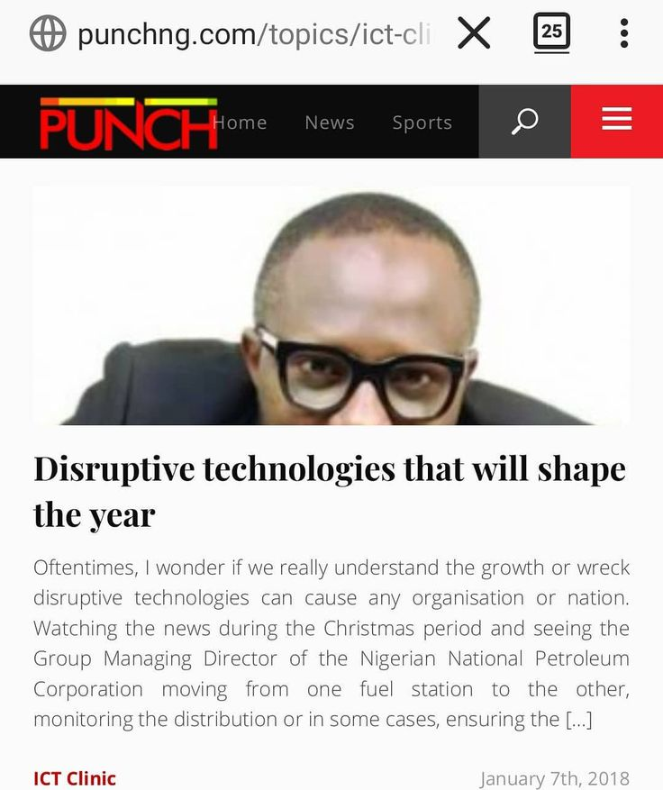 "Disruptive technologies will affect Nigeria negatively if she doesn't make certain changes  investments starting today.  In my latest Punch Newspapers piece I share""Disruptive technologies that will shape 2018"" -http://j.mp/2ACCbop  Better late than never but the signs are everywhere that we are not preparing for a future without oil. #disruption #technology #ictclinic #punchnewspaper"