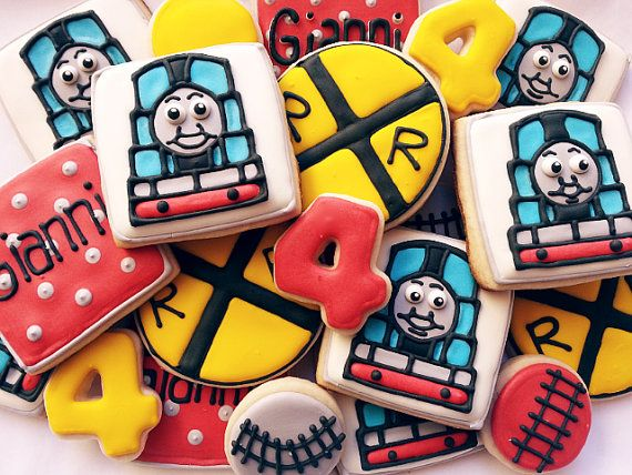 Thomas the Train cookie set. by thecakeboutique on Etsy, $40.00