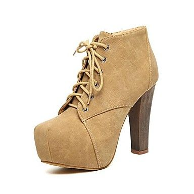 [CyberWeekSale]Women's Shoes Fashion Square Toe Chunky Heel Suede Ankle Boots with Lace-up and Zipper More Colors available – EUR € 19.56