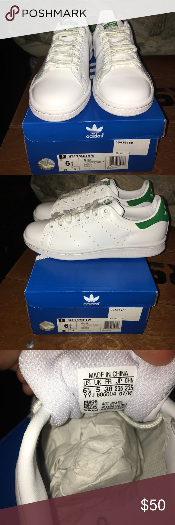 Adidas Stan Smith White and green Stan Smiths  Size women's 6 1/2  Worn once for 5 hours only! adidas Shoes Sneakers