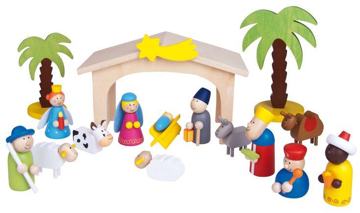Kinder - Weihnachtskrippe 16 teilig - Kinder - Weihnachtskrippe Größe: 8 cm Figuren Ausführung: zum kreativen spielen, handgefertigt und bemalt mit 16 Teilen und Krippenstall WARNHINWEISE: Achtung: Ni